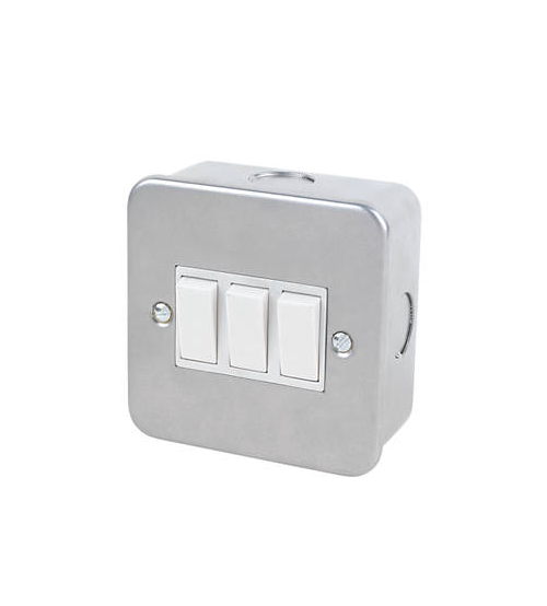 Volex Metal Clad 3gang Switch