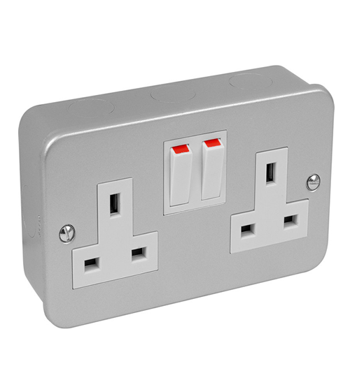 Volex Metal Clad 13Amp Double Socket