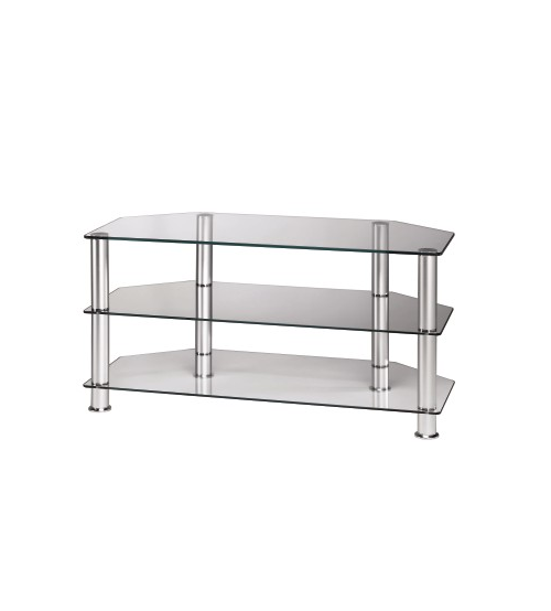 3 TieTV Stand with Clear Glass and Silver Legs