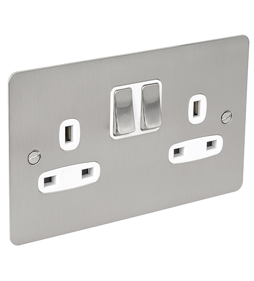BG Flat Plate 13Amp Satin Chrome Double Socket