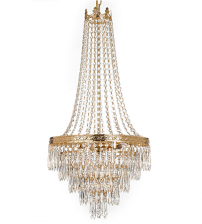 Ceiling Mount Gold Chandelier with Pendent